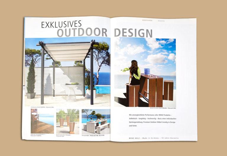 Werbekataloggestaltung Holzmöbel Designerstücke Einzelanfertigung