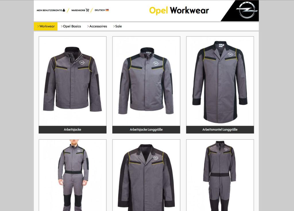 Onlineshop Peter Beckstein Workwear Mode Kollektion Komplettausstattung Opel Dienstkleidung