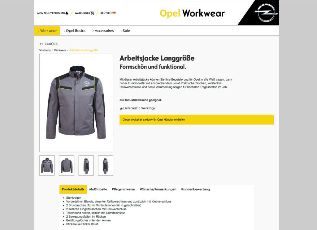 Onlineshop Schnell und einfach online bestellen Teamwear Produktvielfalt Opel